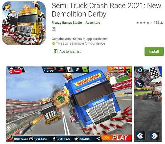 Semi truck crash race 2021(gadi ke game)