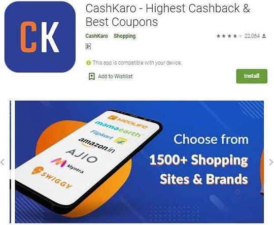 Cashkaro coupon code mobile apps