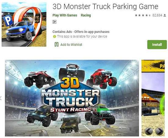 3D monster truck parking game ट्रक वाला गेम