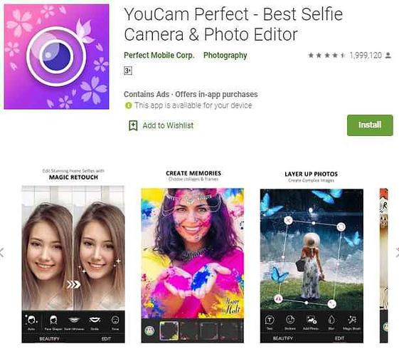 YouCam Perfect best hd selfie camera app