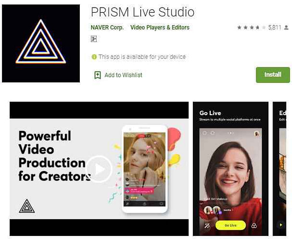 Prism Live Studio video editor without watermark app android