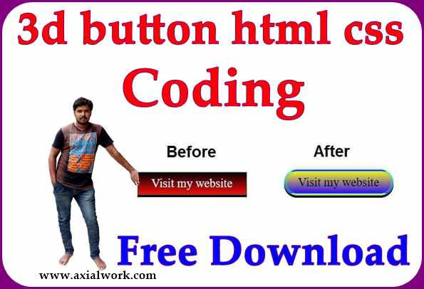 3d button html css code free provide in hindi