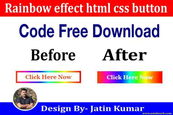 Rainbow effect html css button code free download