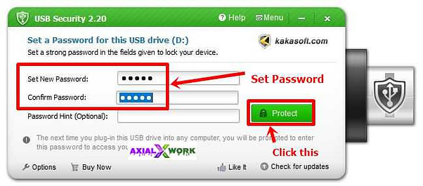 how to set password on pendrive