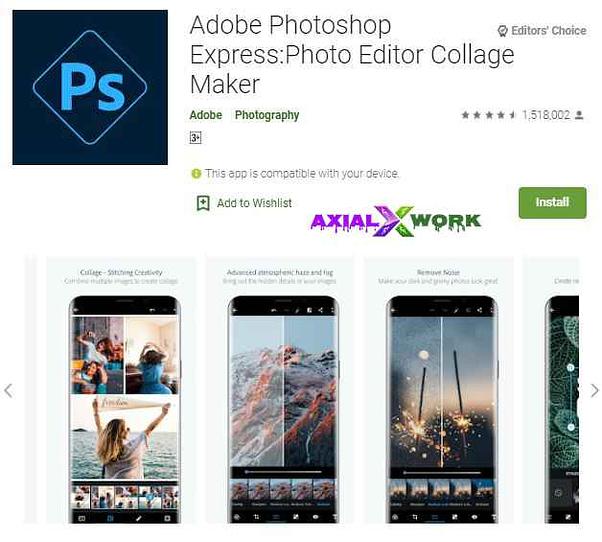 Abobe photshop express photo editing app