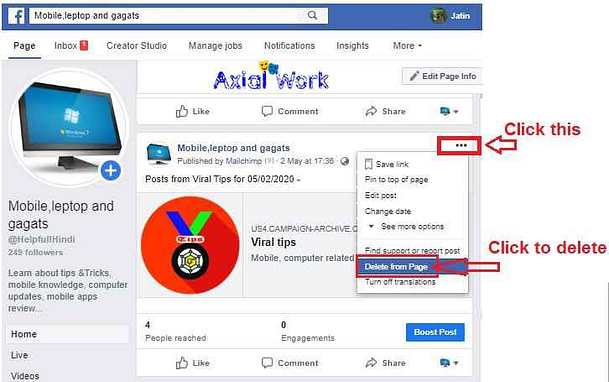 How to delete post from facebook  Facebook page post delete kaise kare