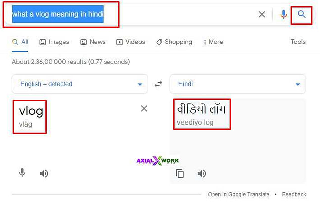Google translate के अनुसार meaning of vlog