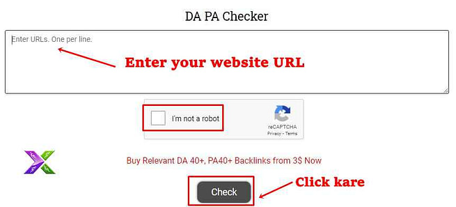 Website domain authority checker