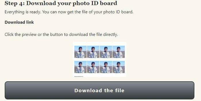 online passport size photo